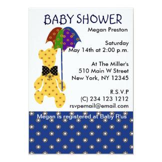 Nalle med paraplybaby shower 12,7 x 17,8 cm inbjudningskort