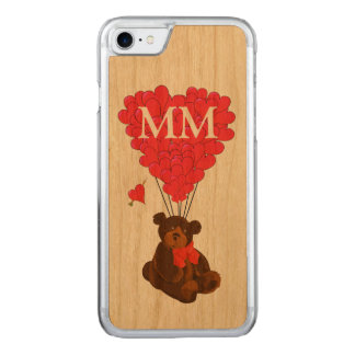 nalle- och kärlekhjärta carved iPhone 7 skal