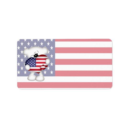 Nalle och stor USA flaggahjärta Adressetikett