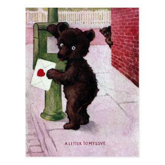 Nalle som överför kärlekbrev vykort
