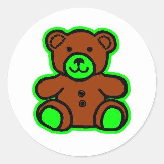 Nallegröntbrunt de MUSEUMZazzle gåvorna Runda Klistermärken
