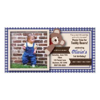 Nallepicknickfödelsedag - blåttGingham Fotokort