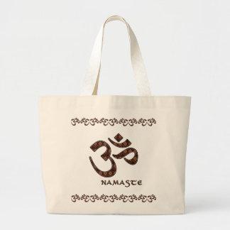Namaste med Om-symbolbrunt och kräm Jumbo Tygkasse
