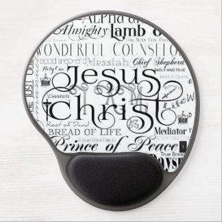 Namn av den Jesus typografigelen Mousepad Gel Musmatta