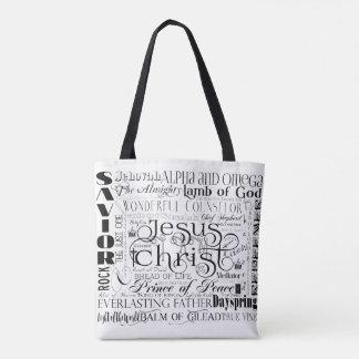 Namn av den Jesus typografitotot hänger lös Tygkasse