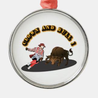 NAMN: Clown och tjur 1-With-Text Rund Silverfärgad Julgransprydnad