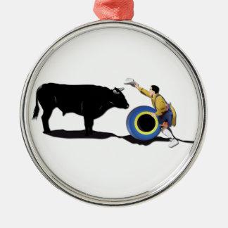 NAMN: Clown och Tjur-Ingen-Text Rund Silverfärgad Julgransprydnad