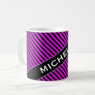 Namn + Enkel Fuchsia & svart randmönstermugg Kaffemugg