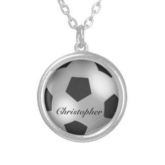 Namn för anpassade för silverfotbollboll halsband med rund hängsmycke