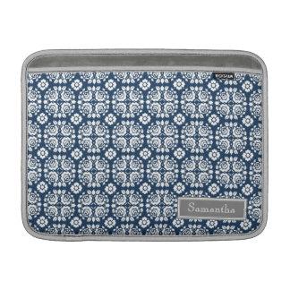 Namn för anpassningsbar för Macbook Aqua damastast MacBook Sleeves