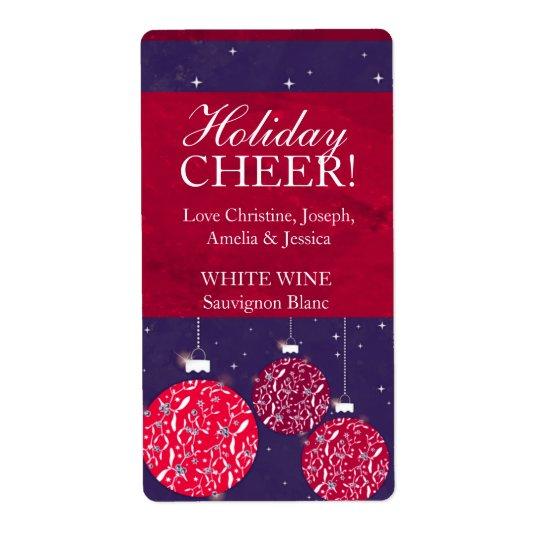 Namn för blått för baubles för julvinetikett rött fraktsedel