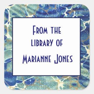 Namn för boken för blått- & gröntBatikmarmor Fyrkantigt Klistermärke