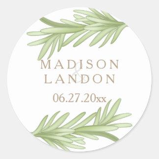 Namn för bröllop för rosmarinSprigs växt- Runt Klistermärke