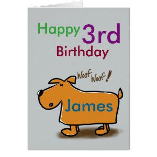 Namn för födelsedag för tecknad hundlycklig 3rd hälsningskort