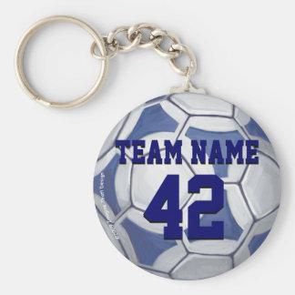 Namn för för fotbollbollblått och vit och numrerar rund nyckelring