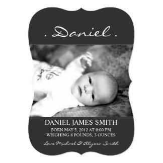 Namn för fotofödelsemeddelande | 12,7 x 17,8 cm inbjudningskort