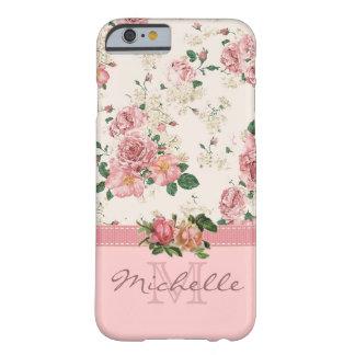 Namn för Monogram för elegant blommigt för vintage Barely There iPhone 6 Fodral