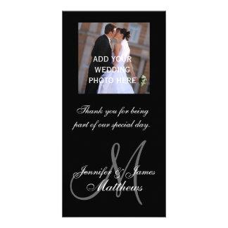 Namn för Monogram för meddelande för bröllopfotota Fotokort