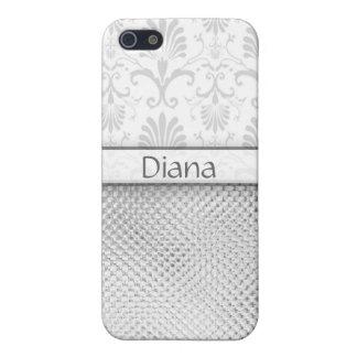 Namn för mönster för flott silvergrått damastast iPhone 5 cover