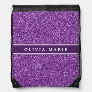 Namn för personlig för lilaglitter (faux) backpacks