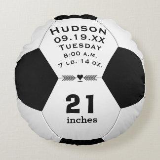 Namn för personligfotbollboll och babystatistik rund kudde