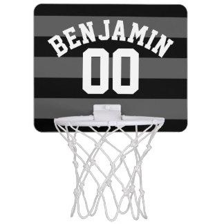 Namn för randar för svart- och gråttsilverRugby Mini-Basketkorg