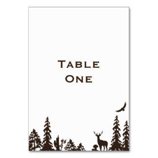 Namn för skogsmarkbröllopbord eller numrerar bordsnummer