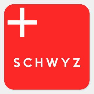 Namn för text för flagga för Schwyz Fyrkantigt Klistermärke