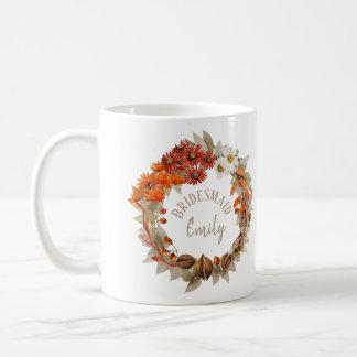 Namn ID465 för brudtärna för nedgångbröllopkran Kaffemugg