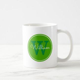 Namn + Initial insidagrönt cirklar Kaffemugg