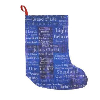 Namn och titlar av Jesus BLÅTT KORSAR KONST Liten Julstrumpa