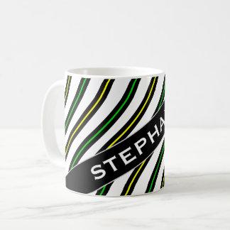 Namn + Svarten, gult & grönt vågigt linjermönster Kaffemugg