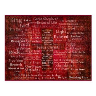 Namnen av den Jesus Kristus från bibeln Vykort
