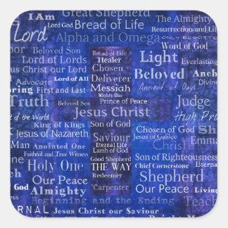 Namnen av Jesus Kristusblått korsar konst Fyrkantigt Klistermärke