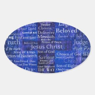 Namnen av Jesus Kristusblått korsar konst Ovalt Klistermärke