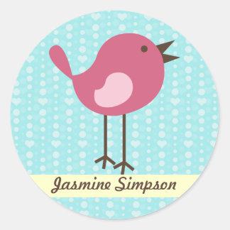 Namnetiketter/den rosa fågeln för klistermärkear - runt klistermärke