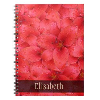 Namnger röda trädgårds- liljar några för anteckningsbok