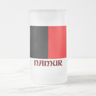 Namur flagga med namn frostat ölglas