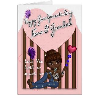 Nana & Grandad, morförälderdagkort - gulliga Littl Hälsningskort