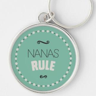 Nanas härskar Keychain - grönt Rund Silverfärgad Nyckelring