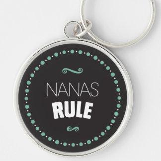 Nanas härskar Keychain - svart Rund Silverfärgad Nyckelring