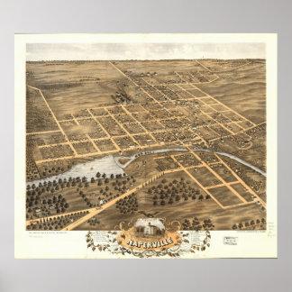 Naperville Illinois 1869 antika panorama- karta Poster