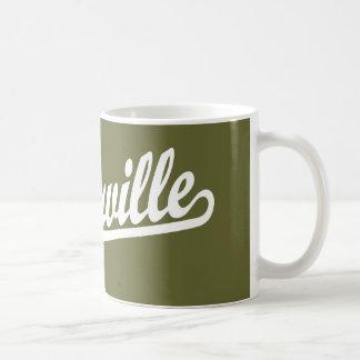 Naperville skrivar logotypen i vit kaffemugg