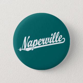 Naperville skrivar logotypen i vit standard knapp rund 5.7 cm