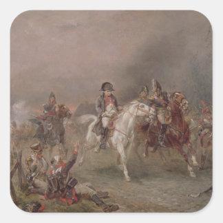 Napoleons reträtt (olja på kanfas) fyrkantiga klistermärken
