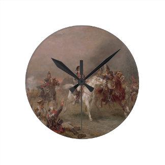 Napoleons reträtt (olja på kanfas) klocka