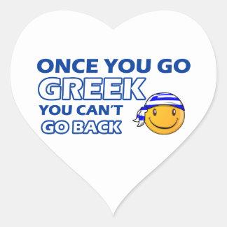 När du går greken hjärtformade klistermärken