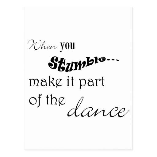 När du snavandet gör det delen av dansen vykort