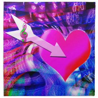 När musikpilen uppsätta som mål hjärta tygservett