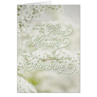 När någon som du älskar, blir ett uppskattat minne hälsningskort